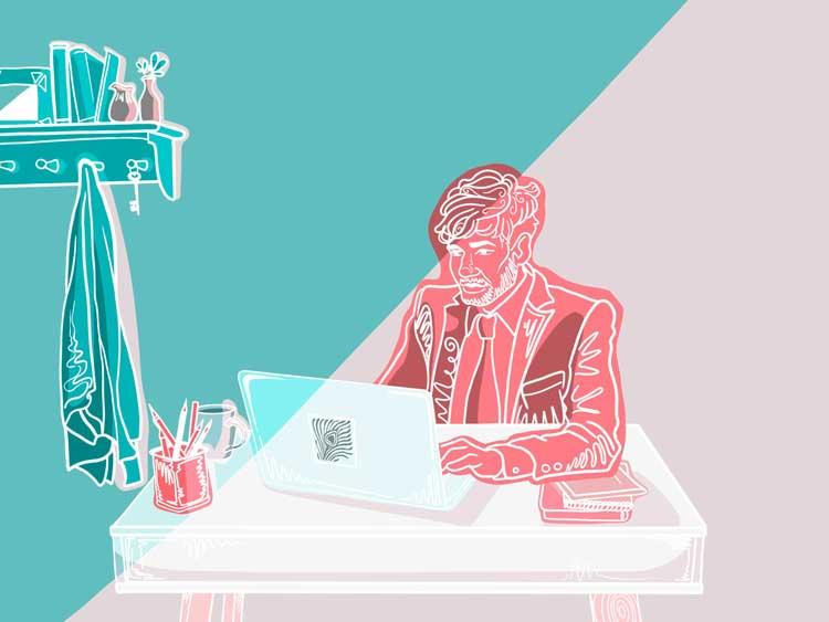 man working at a desk illustration